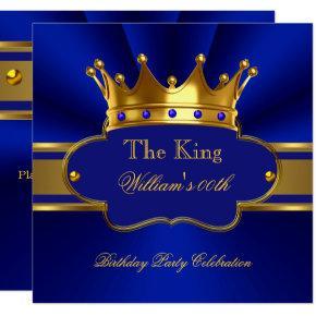 King Royal Blue Gold Birthday Party Mens Mans Invitations