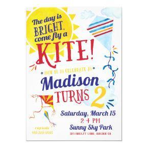 Kite Flying Birthday Invitation