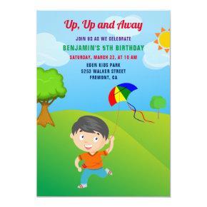 Kite Flying Kids Birthday Party Invitation