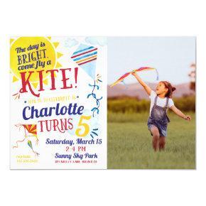 Kite Flying Photo Birthday Invitation