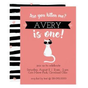 Kitten Me First Birthday Invitation