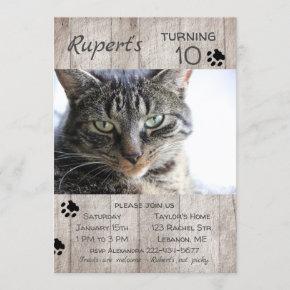 Kitty Cat Pet Photo Gray Wood Birthday Invitation