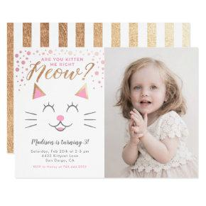 Kitty Cat Pink Gold Birthday Party Photo Invitation