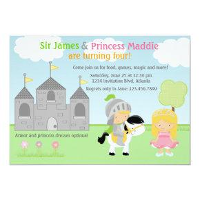 Knight and Princess Twins Joint Party Invitations
