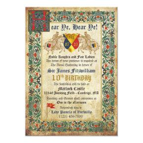 Knights Jousting Medieval Manuscript Birthday Invitation