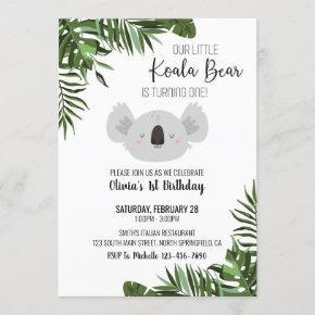Koala Bear First Birthday Invitation