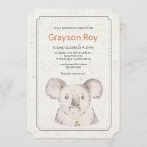 Koala Bear Invitation