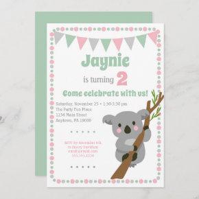 Koala Bear Invitation Cute Birthday Party