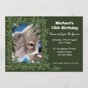 Koala Birthday Party Invitation