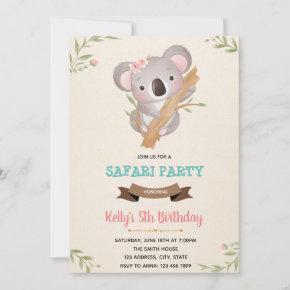 Koala birthday shower invitation