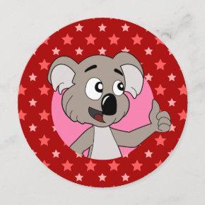 Koala head cartoon birthday print invites