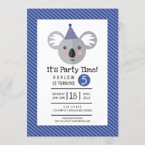 Koala Kids Birthday Party Invitation