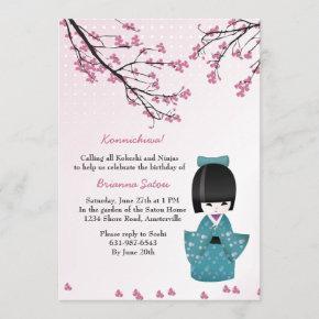 Kokeshi Doll Invitation