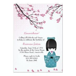 Japanese cherry blossom birthday invitations candied clouds kokeshi doll invitations filmwisefo