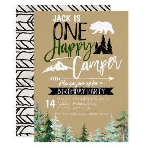 Kraft Camper 1st Birthday Camping Party Invitation