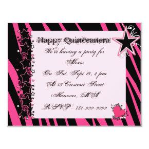 KRW Pink Zebra Print Hearts Stars Quinceanera Invitation