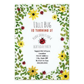 Lady Bugs + Wildflowers Girls Birthday Party Invitation