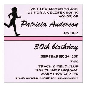 Lady Runner Pink Birthday Party Invitation