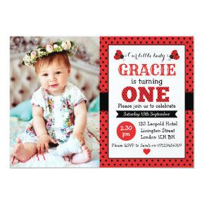 ladybug 1st birthday girls party invitation