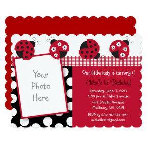 Ladybug 1st Birthday Invitation