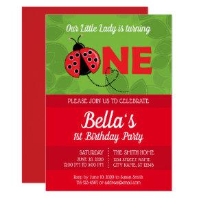 Ladybug 1st Birthday Invitation with picture