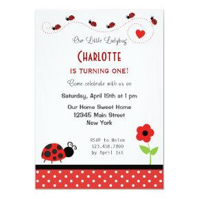 Ladybug Birthday Invitation Black Red Polka Dots