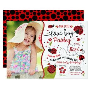 Ladybug Birthday Invitation, Lady Love Bug Invite