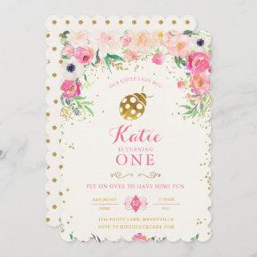 LadyBug Birthday Invitation Pink