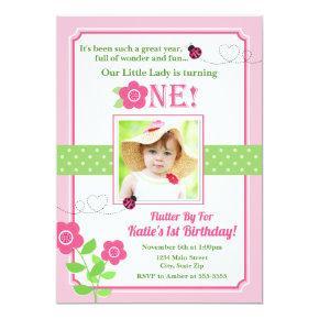 Ladybug Birthday Invitation Pink Ladybug 1st