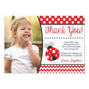 Ladybug Birthday Thank You Card with Photo