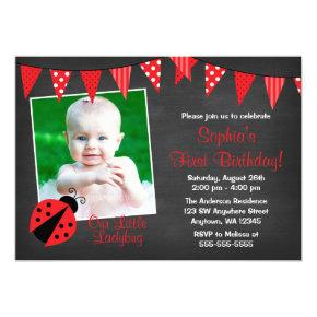 Ladybug Chalkboard Photo Birthday Invitation