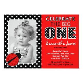 Ladybug First Birthday Party Invitation