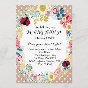 Ladybug First Girl Birthday Party Invitation