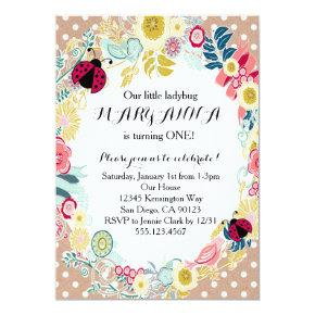 Ladybug First Girl Birthday Party Invitation