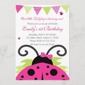 Ladybug Hot Pink Kids Birthday Party Invitation