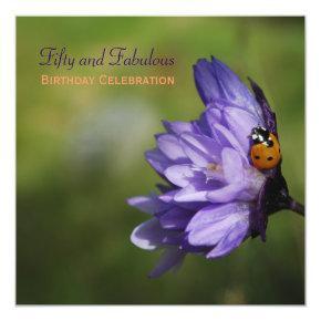 Ladybug on Purple Flower 50th Birthday Invitation