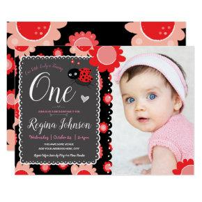 Ladybug Photo 1st Birthday Girly Floral Invitation