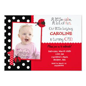 Ladybug Photo 1st Birthday Party Invitation