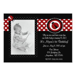 Ladybug Photo Birthday Inviation Invitation