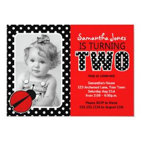 Ladybug Second Birthday Party Card