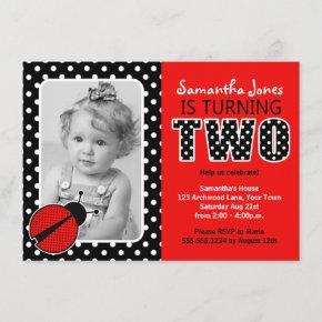 Ladybug Second Birthday Party Invitation