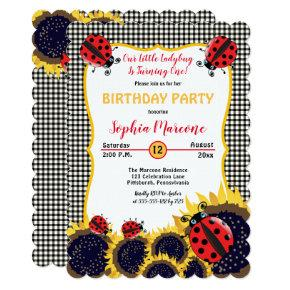 Ladybugs and Sunflowers Girl 1st Birthday Party Invitation