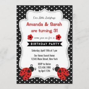 Ladybugs Birthday Invitation Red Black