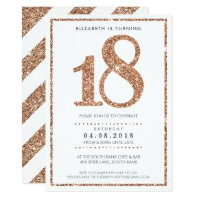 LARGE AGE NUMBER INVITE glam 18 rose gold glitter