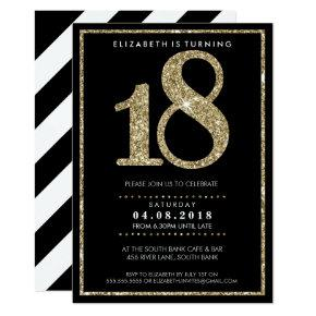 LARGE AGE NUMBER INVITE modern 18 gold glitter