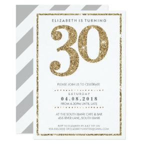 LARGE AGE NUMBER INVITE modern 30 gold glitter