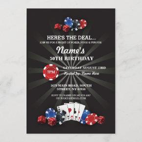 Las Vegas Casino Night Birthday Party Invite