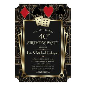 Las Vegas Casino Royale Great Gatsby Birthday Invitation