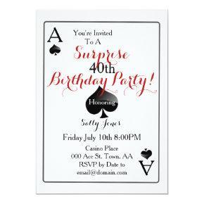 Las Vegas Casino Surprise Birthday Party Invitations