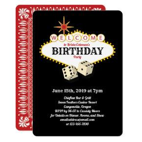 Las Vegas Marquee Birthday Party Black Invitation